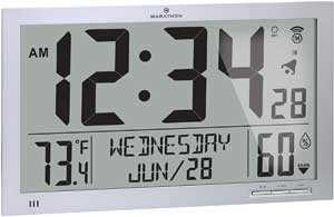 Marathon Slim Atomic Full Calendar Wall Clock