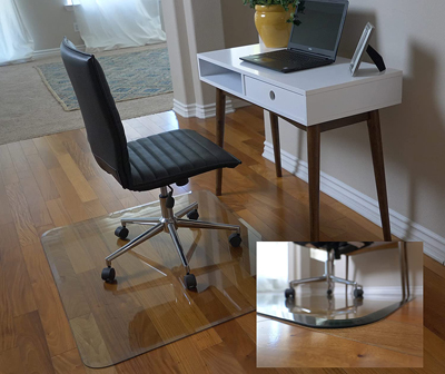 Clearly Innovative Glass Chair Mat with Exclusive Beveled Edge